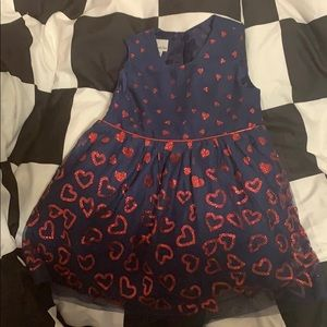 Toddler Navy Blue dress with Red hearts